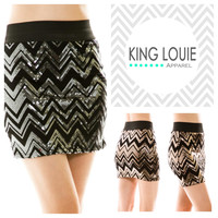 Chevron Sequin Mini Skirt