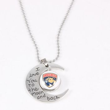 I Love You To the Moon And Back Necklace NHL Florida Panthers Charm Pendant Necklace Ice Hockey Jewelry for Women
