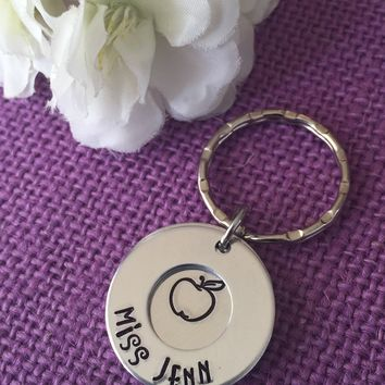Teacher Gift - Teacher Jewelry - Teacher Appreciation - Teacher Keychain - Teaching is a work of heart - Personalized teacher Gift