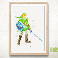 Zelda, Link - Watercolor, Art Print, Home Wall decor, Watercolor Print, Legend of Zelda Poster