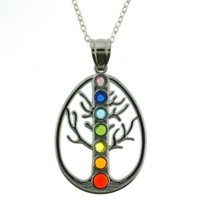 Multi-Color Crystal Inlayed Chakra Tree Symbol Pendant Necklace - 40mm Pendants - 18'' Necklace Included - Purple, Blue, Aqua, Green, Yellow, Orange, and Red Crystals