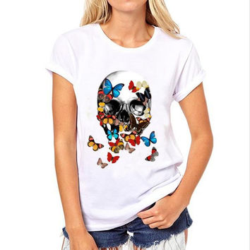 The new 2016 butterfly skulls printing round collar traditional European and American lady T-shirt with short sleeves