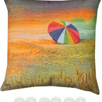 """Manual Woodworkers SLBCHU Beach Umbrella Climaweave Indoor Outdoor 18""""x18"""" Pillow with 6-Pack Tea Candles"""