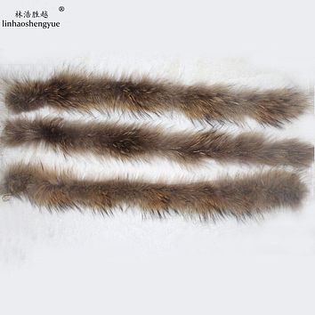 50cm Real fur raccoon fur children hood collar collar High-quality Raccoon fur fashion Coat collar cap collar
