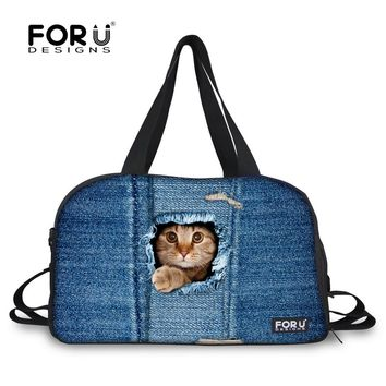 2017 Famous Brand 3D Cute Cat Dog Print Women Canvas Handbag Large Capacity Luggage Travel Bags Luxury Traveling Duffel Tote Bag
