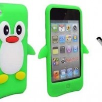 Apple IPod Touch 4TH Generation Penguin Silicone Case Green Cover Protector NC Premium Capacitive Stylus Pen