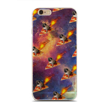 Pizza Queen - Dogs Lover - Galaxy Pattern - Pet Lover - Pugs Lover - Slim & Transparent case for iPhone - by HeartOnMyFingers - SLIMCASE-295