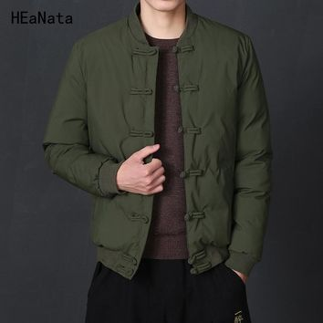 Winter Jacket Men Solid 2018 Mens Simple Traditional Chinese Style Jacket Black Parkas Male Casual HipHop Coats Outerwear 5XL
