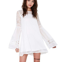 Lace Bell Sleeve Mini A-Line Dress
