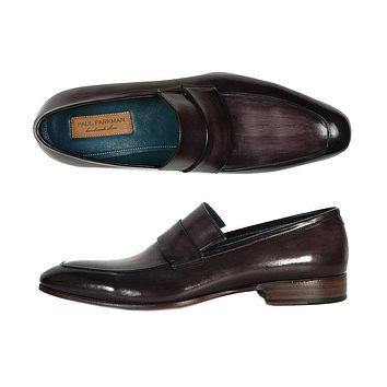 Paul Parkman Men's Loafer Black & Gray Hand-Painted Leather Shoes (Id#093)