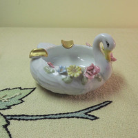 Swan Ashtray, Vintage Flower Ashtray, Small White Porcelain Glass Ashtray, 1970 Collectible Glass Ashtray, Hand Painted Ashtray