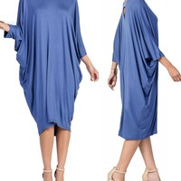 Loose Fitting VNeck Dripped Dress