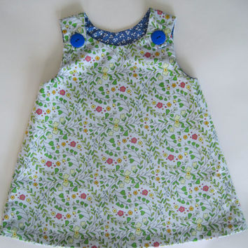 Blue Floral Reversible A-line Baby Dress: Size 6-12 months