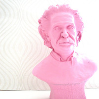 Large Einstein Bust Statue in light pink