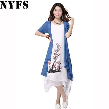 Summer dress women clothing Small fresh long dress Fake two pieces Dress casual loose large size Vestidos Elbise Robe
