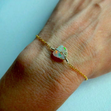 Rough Opal Anklet or Bracelet and 14k Gold Fill; 925 Sterling Silver; Oxidized Sterling Silver Chain: Gift Idea, For Her October Birth Stone