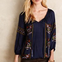 KAS New York Bravura Peasant Blouse in Blue Motif Size: