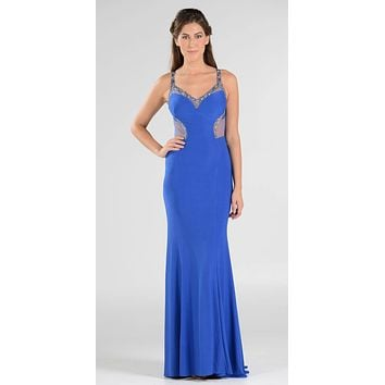 Poly USA 7692 V-Neck Long Formal Dress Sequins Open Back Cutouts Royal Blue