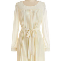 ModCloth Mid-length Long Sleeve Shift Does This Strike Accordion? Dress