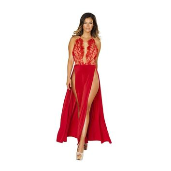 Maxi Length High Slit Dress with Eyelash Lace Detail - Red