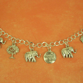 Heart Warming Little Elephants with Double Sided  Charms on an Antique Silver Bracelet 100% Animal Rescue Donation  GREAT GIFT