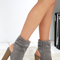 Only the Latest Grey Suede Peep-Toe Booties