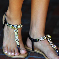 Diamonds Are A Girls Best Friend Sandals: Black | Hope's