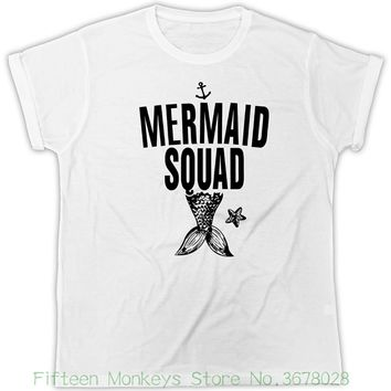 Women's Tee Mermaid Squad T-shirt Ariel Tattoo Vintage Tee Ursula Nautical Anchor Tshirt Funny Print Women T Shirt