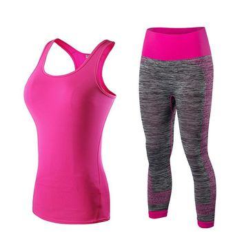 Running Set  Vest Pants Sport Suit Fitness Tights Top Jogging Suits FREE SHIPPING
