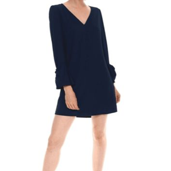 Women's V-Neck Shift Dress with Bell Sleeves