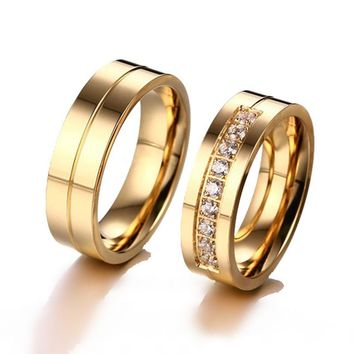 SHUANGR Classic Design Wedding Rings For Women Men Gold Color Ti