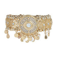 Gold tone embellished arm cuff - body jewelry / harnesses - jewelry - women