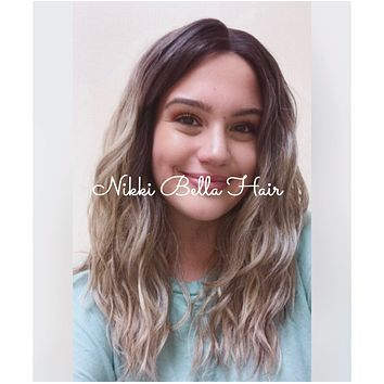 "Faith | Sombre' White Ash Blonde Balayage' Mutli Parting Lace front wig 14"" - Helen"