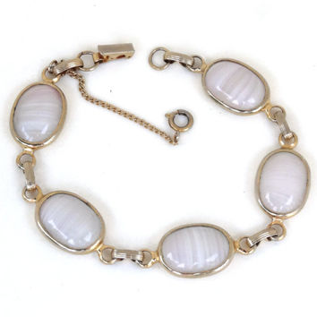 """Vintage SARAH COVENTRY Bracelet Pink Agate Stone or Glass Oval Cabachons Gold Links Foldover Clasp w Safety Chain 7.5"""""""