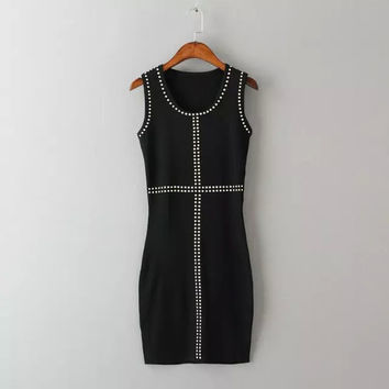 Plain Studded Sleeveless Dress