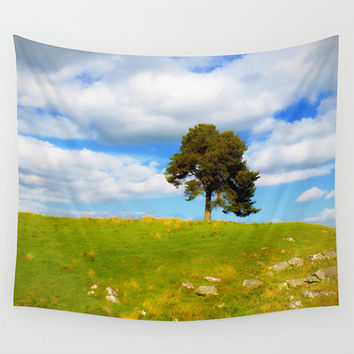 Landscape tapestry, college room decor, nature wall art, photo tapestry, large wall hanging, tree decor, summer, colorful, outdoor tapestry