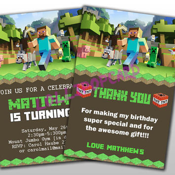 Gaming Birthday Invitation and Thank You Card