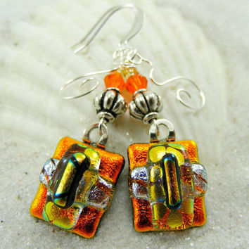 Sun Kissed Wishes Dichroic Earrings by HanaSakuraDesigns on Etsy