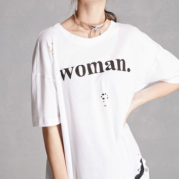 Woman Graphic Distressed Tee