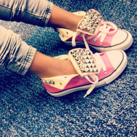 Tounge Pierced Studded Converse by ShopExhale on Etsy