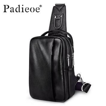 Large Capacity PU Leather Men Chest Bag Fashion Man Messenger Bag Casual Men' Chest Pack New Designer Male Crossbody Bag