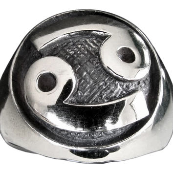 Zodiac Cancer Ring Astrology Sign in Sterling Silver 925