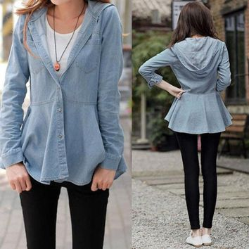 DCCKIX3 New Arrival Lady Women Girl Blue Hooded Outerwear Jacket Jean Shirt Blouse  SV006994