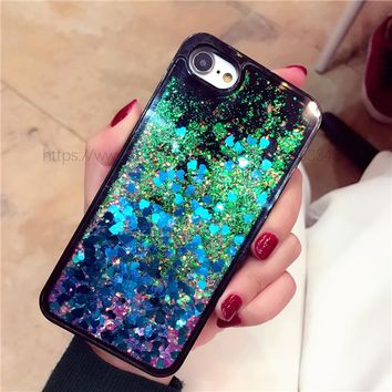 For iPhone 6 6 Plus 7 7Plus Case Glitter Bling Liquid Sand Drift SandStar Quicksand Black Case for iPhone 6 6Plus 7 7Plus