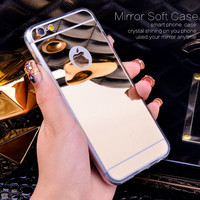 Fashion Luxury Mirror Soft Case For Iphone 6 6S 4.7inch TPU Frame Cover For Iphone 7/ Plus 6 6S Plus Ultra Slim Clear Phone Case