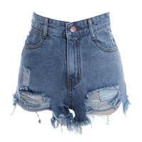 Vintage High-Waisted Ripped Jean Shorts - Vintage Destruido Cintura Alta Denim Shorts = 1929767492