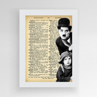 Instant download,Charlie Chaplin & the Kid, Chaplin poster Charlie Chaplin, Vintage Black and White Movie Star Wall Hanging Dictionary Print