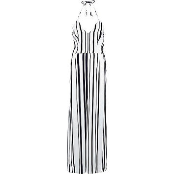 River Island Womens Navy stripe wide leg jumpsuit