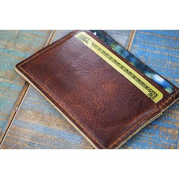5-Slot Super Slim Front Pocket Card Sleeve Wallet (Tobacco Snakebite Leather)