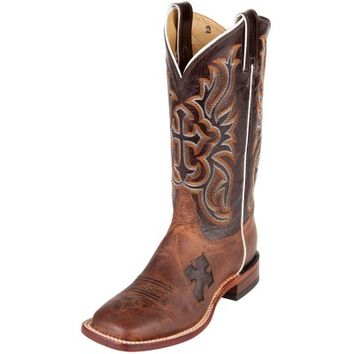 Ladies : Tony Lama Ladies' Cowboy Boots Antique Tan Vintage Goat and Nicotine Cross Inlay with Nicotine Crunch Goat Tops
